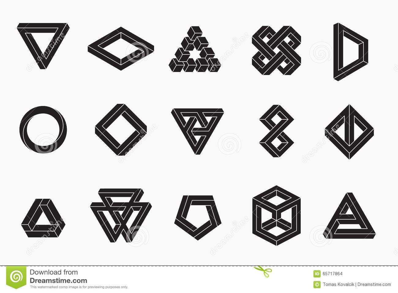 Set Of Impossible Shapes Un Expanded Strokes Stock Vector