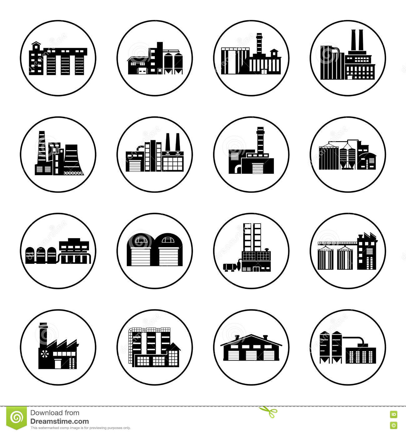 Set Of Industry Manufactory Building Icons Stock Vector