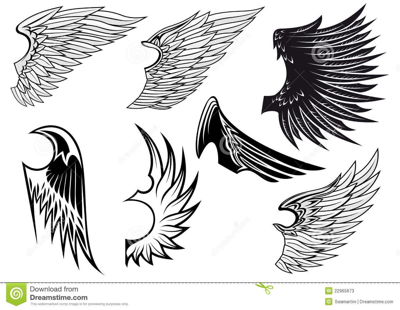 Set Of Isolated Heraldic Wings Stock Vector