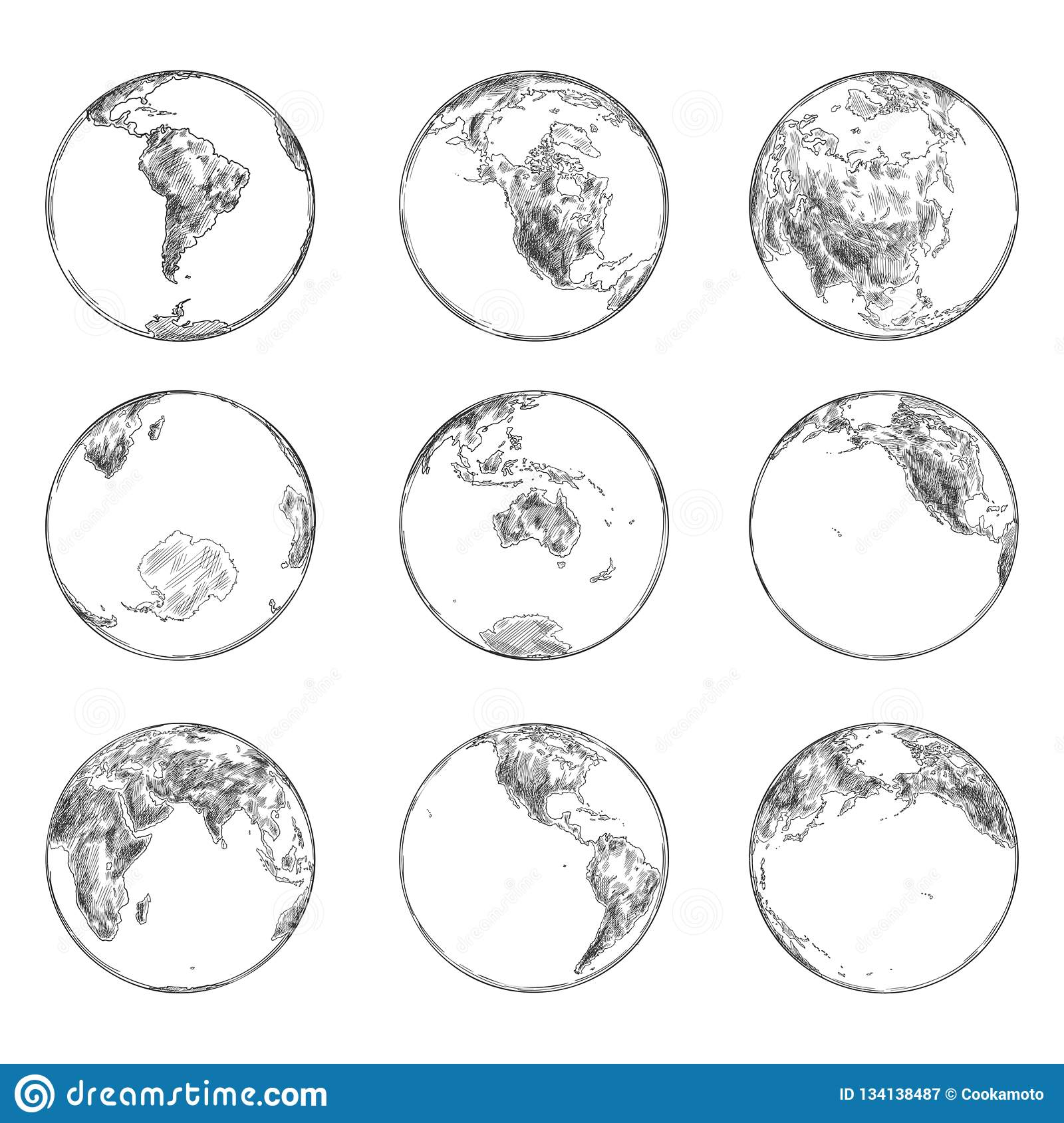 Sketches Of Continents On Planet Earth Ocean Stock