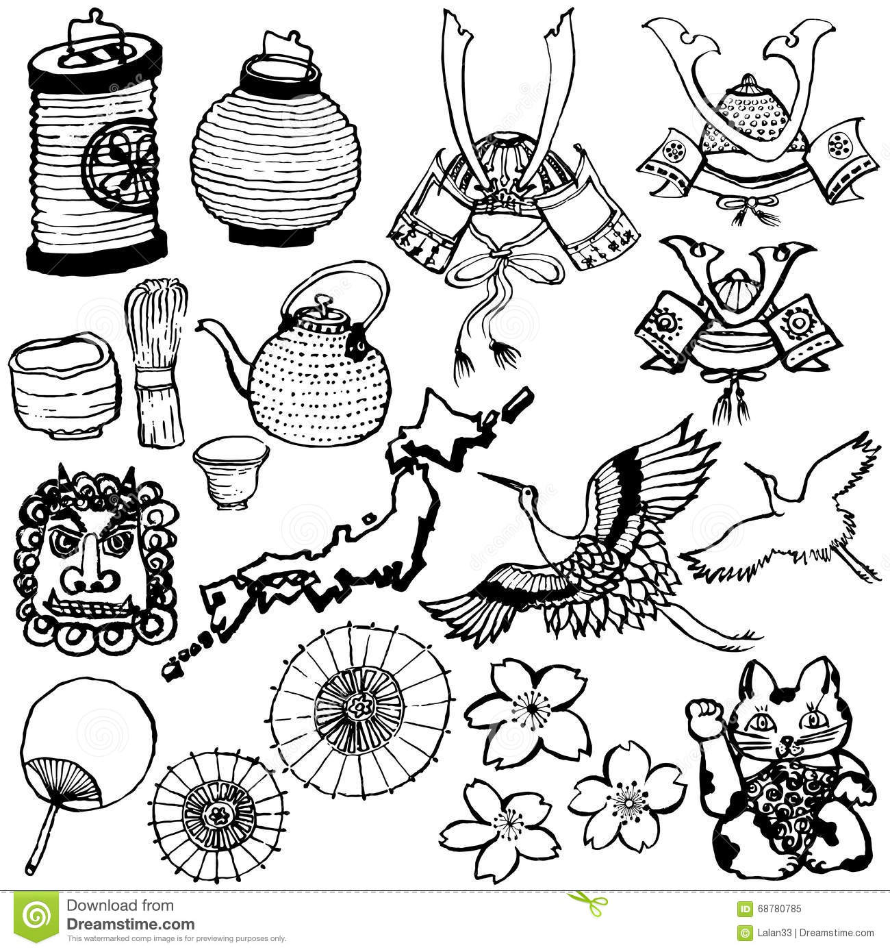 Set Of Japanese Tourist Attractions Stock Vector