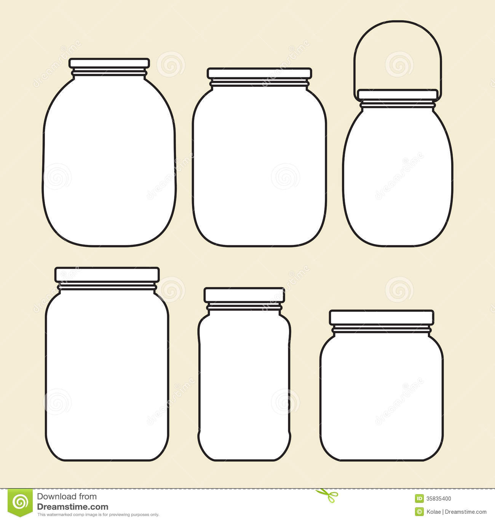 Set Of Jars Template Stock Photo