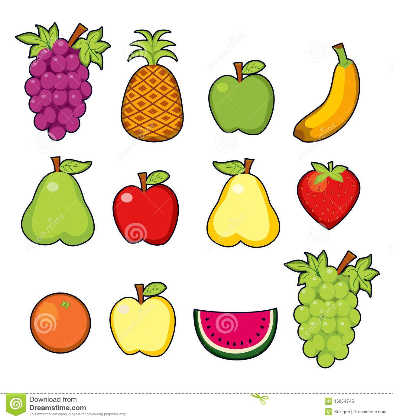 Set Of Juicy Fruits Stock Vector Illustration Of Apple
