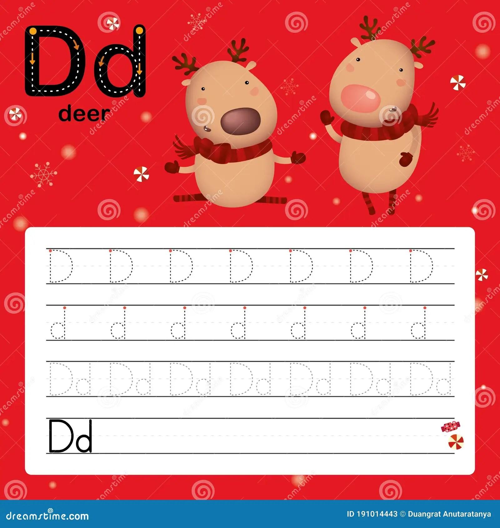 D Deer Alphabet Tracing Worksheet For Preschool And