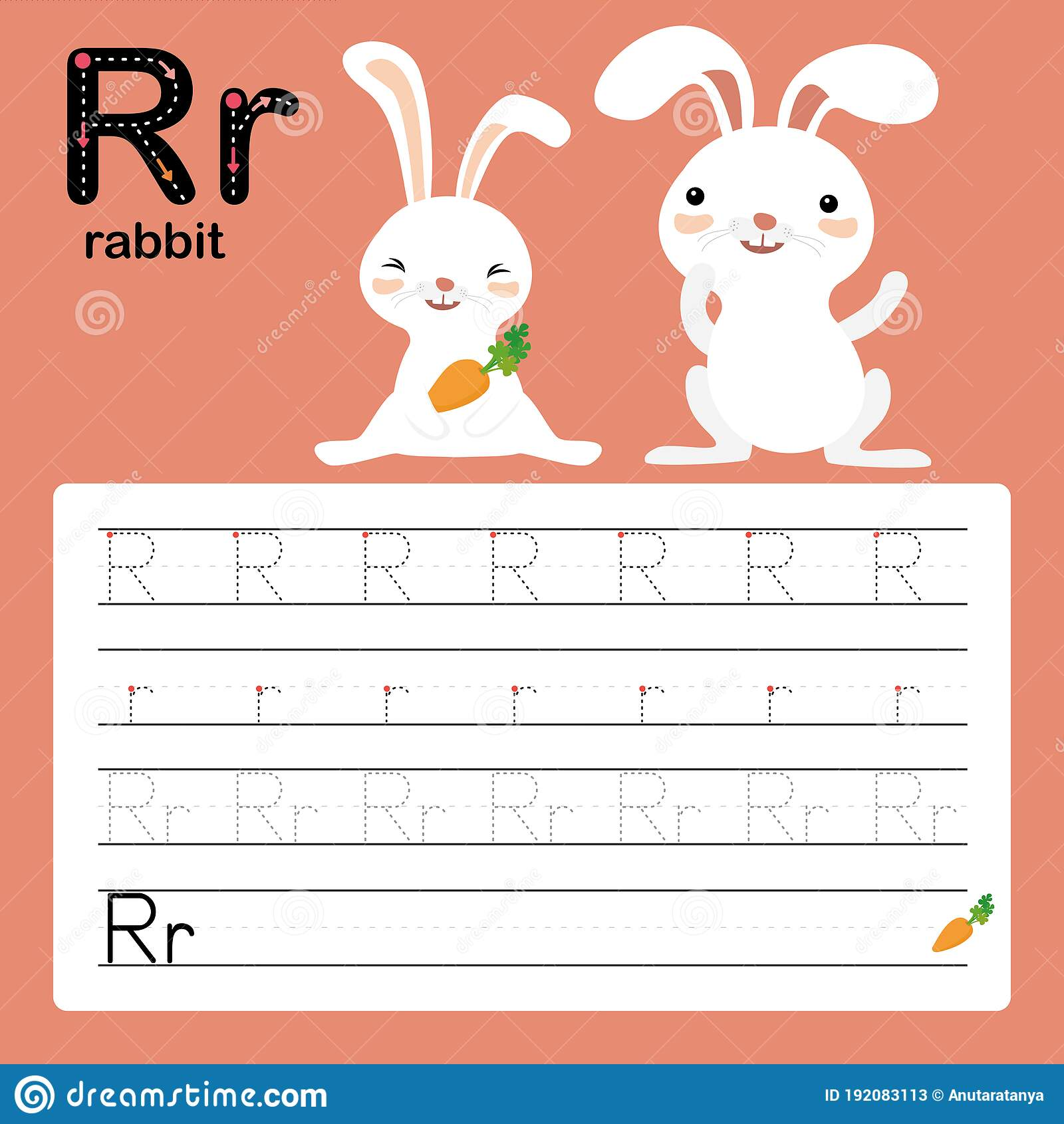 R Rabbit Alphabet Tracing Worksheet For Preschool And