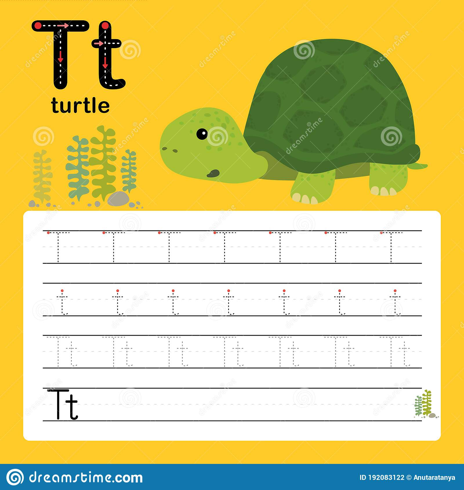 T Turtle Alphabet Tracing Worksheet For Preschool And