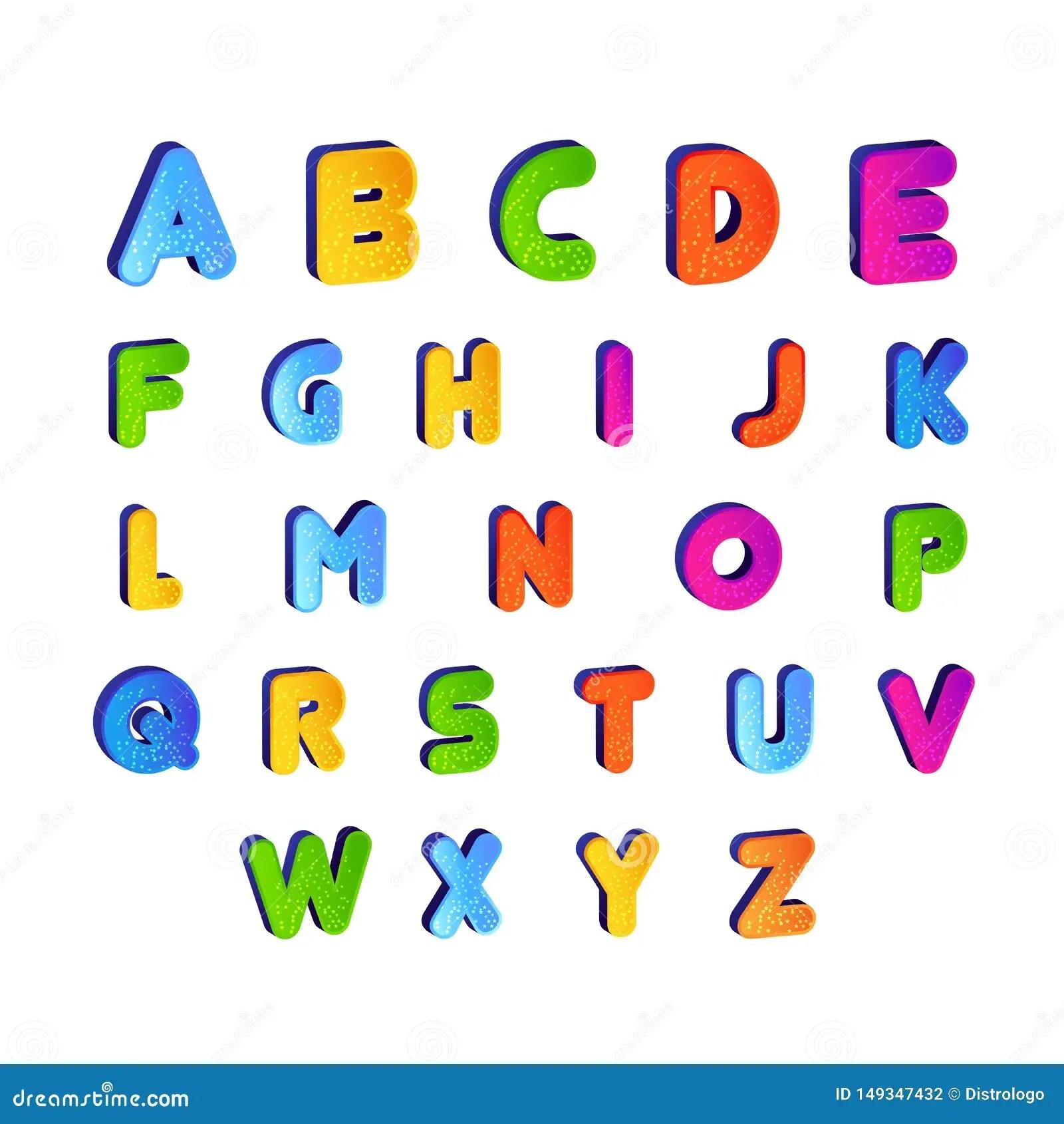 Set Of Kids Font Alphabet Vector In Colorful Design