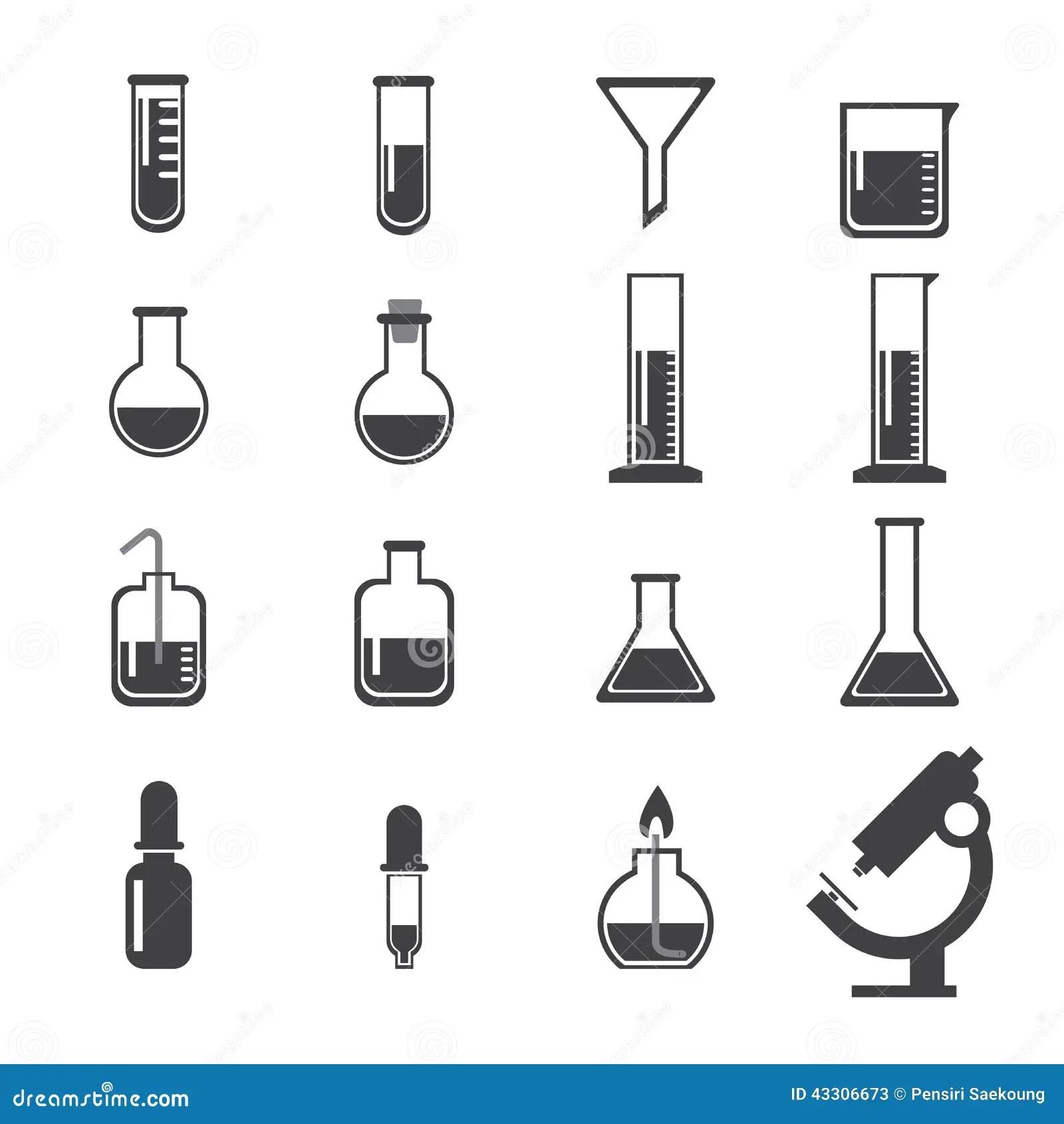 Set Of Laboratory Equipment Icon Stock Vector