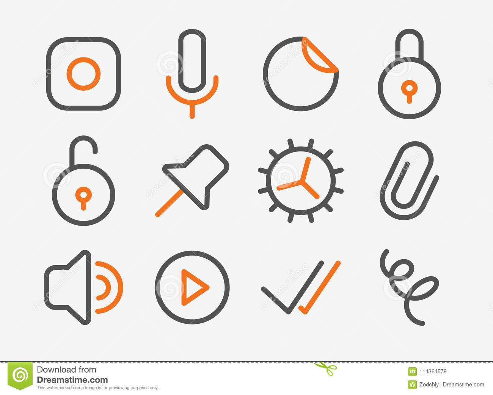 Lock Unlock Icons Stock Vector Illustration Of Camera