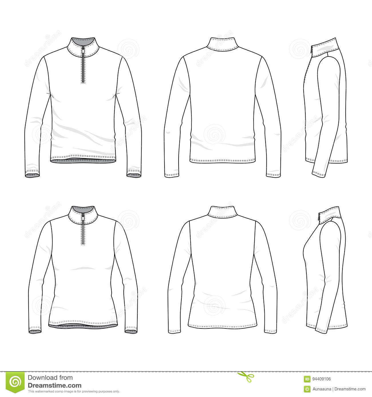 Set Of Long Sleeved T Shirt With Zipper Stock Vector