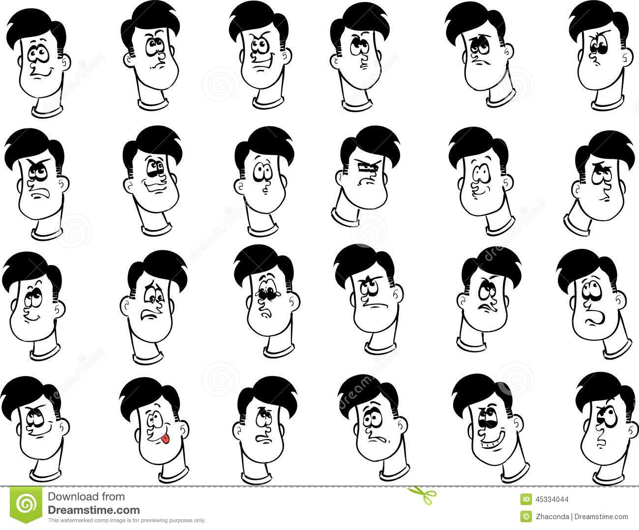 Set Of Male Cartoon Faces With Emotional Stock Vector