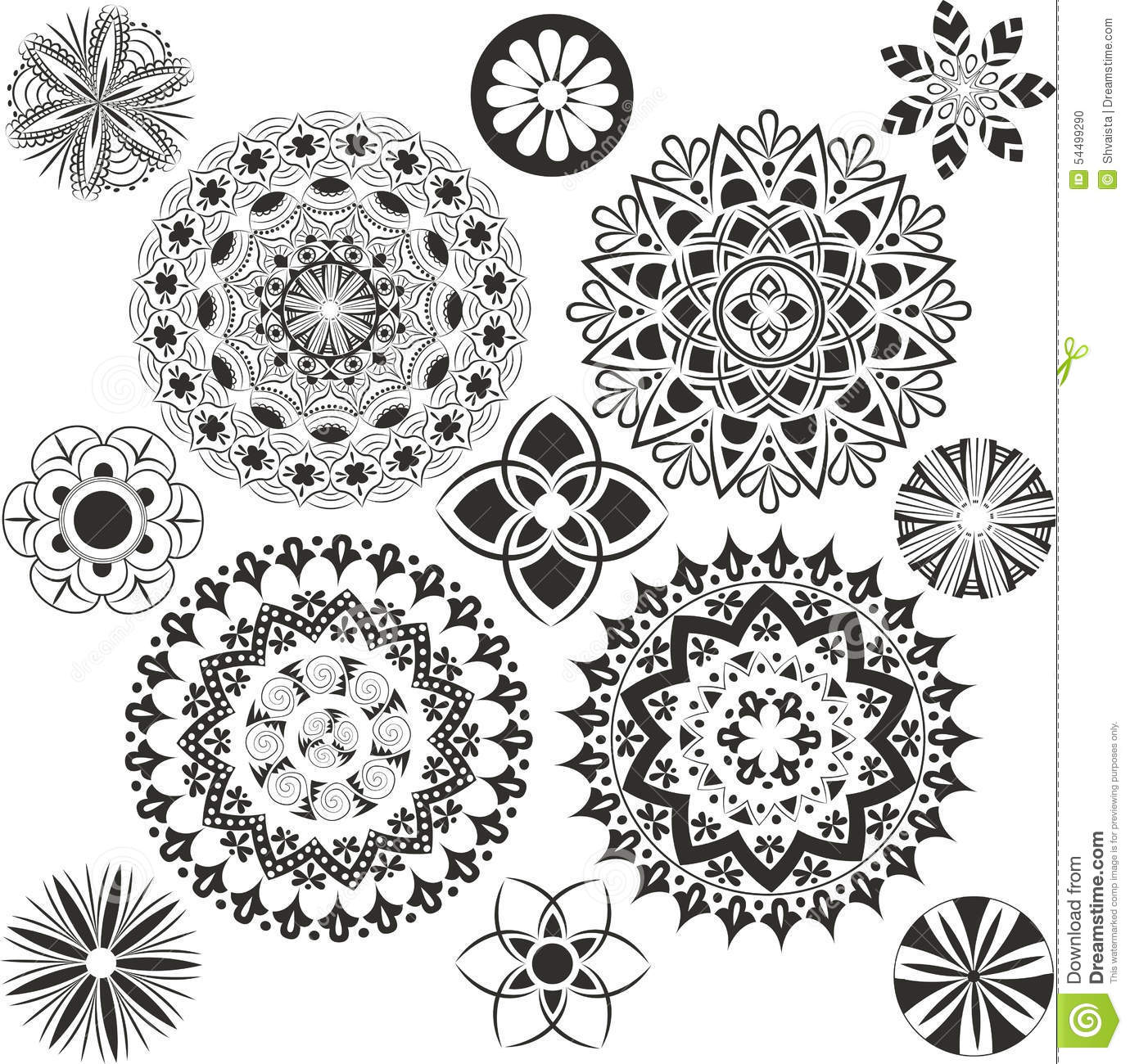 A Set Of Of Mandalas Stock Vector Illustration Of Example