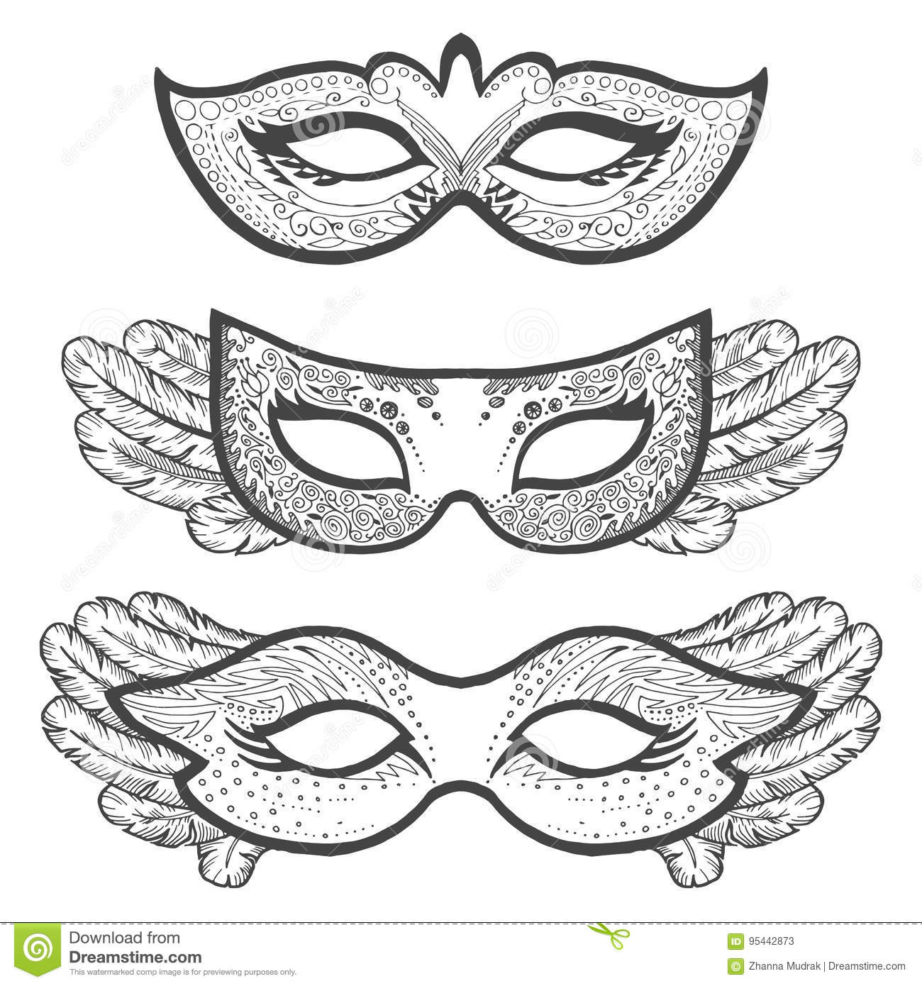 Set Of Masquerade Outline Masks Contour For Coloring