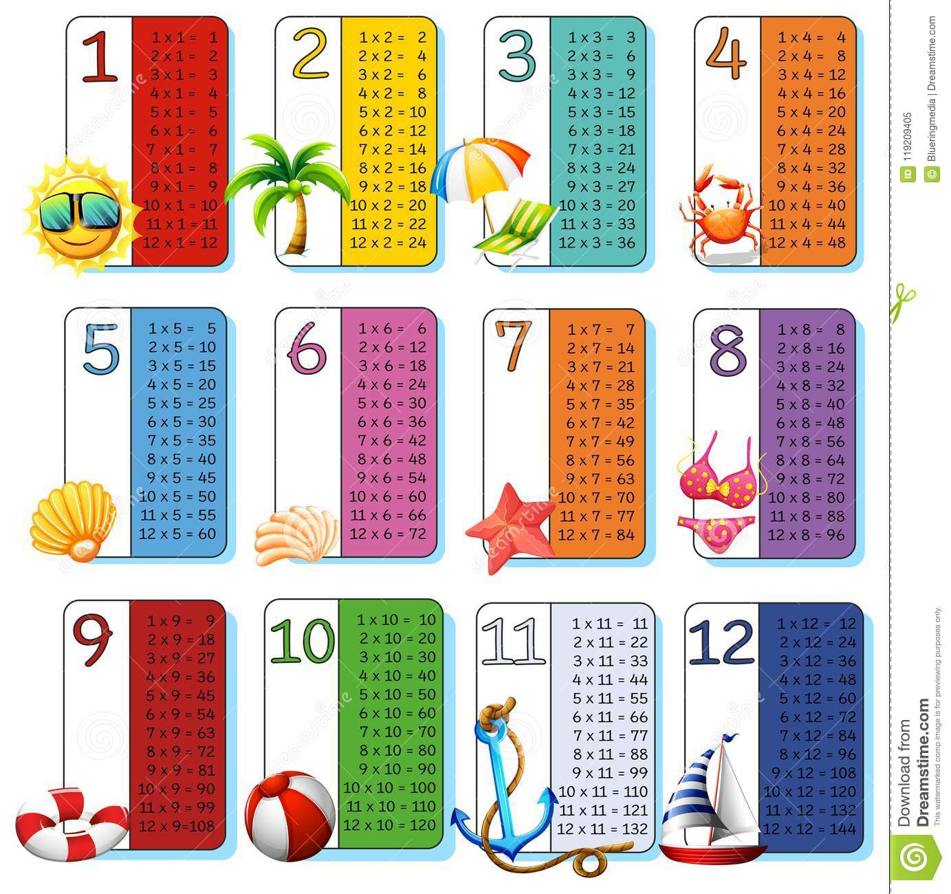 A Set Of Math Times Tables Summer Theme Stock Vector