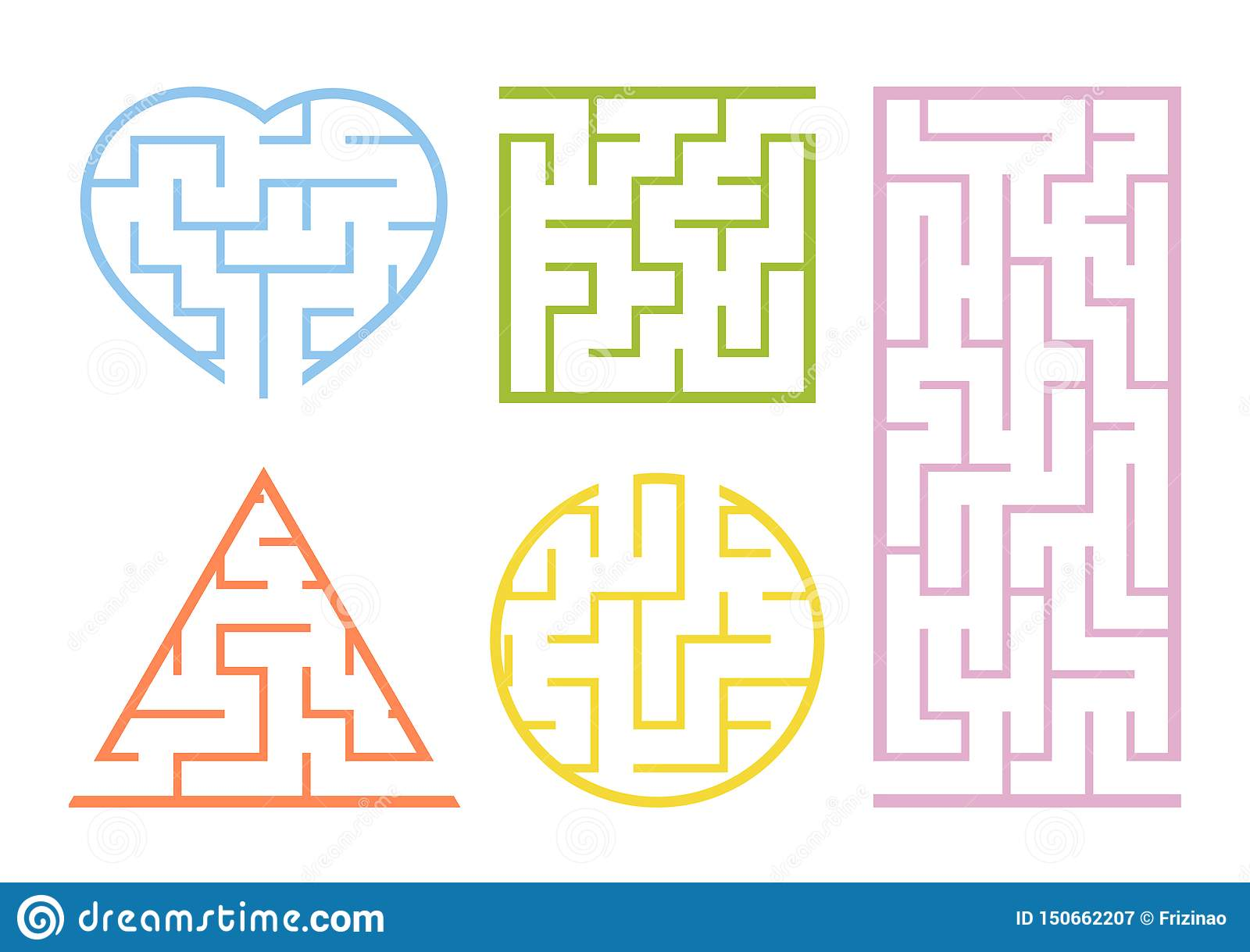 A Set Of Mazes Game For Kids Puzzle For Children