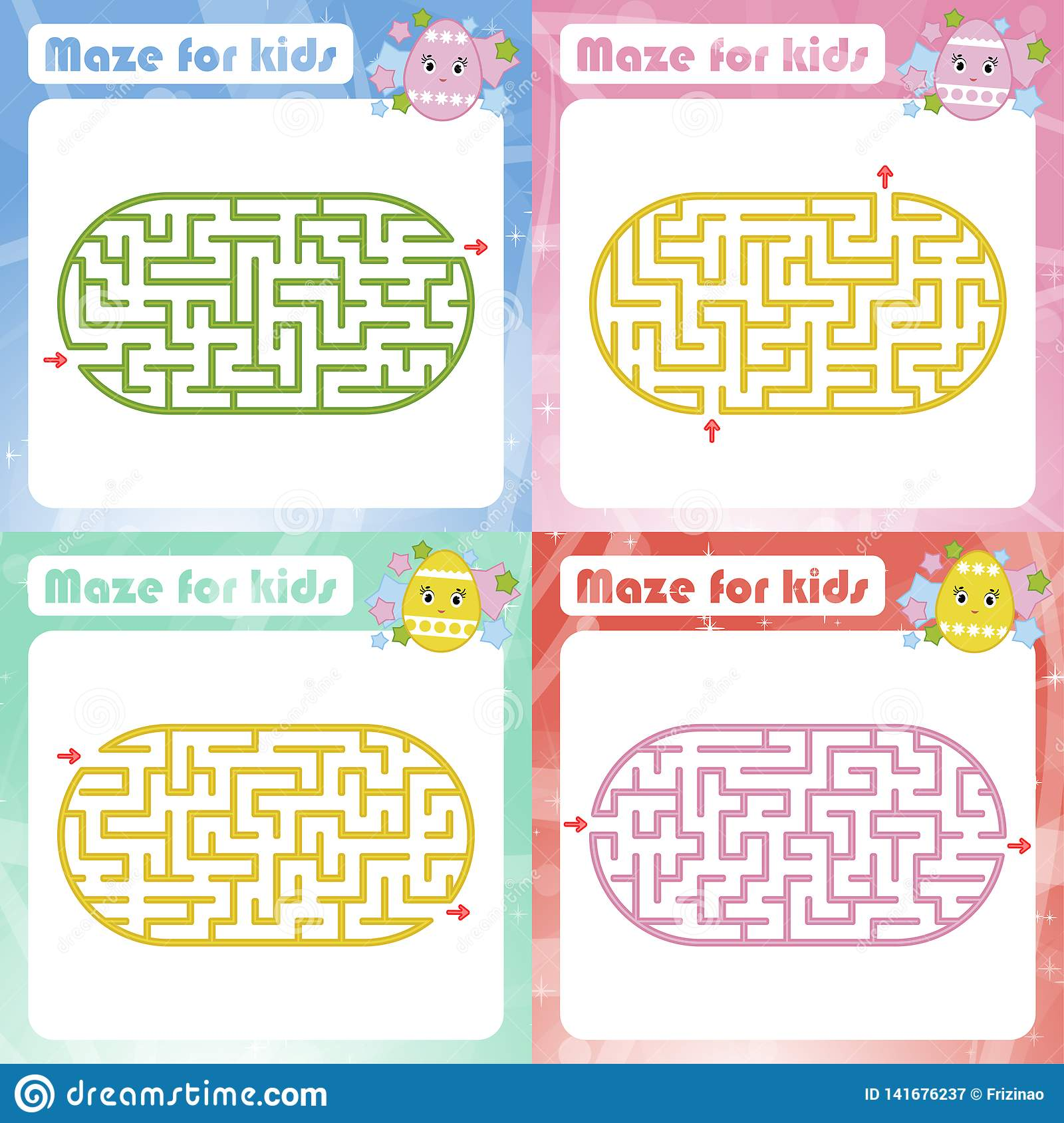 A Set Of Mazes Game For Kids Puzzle For Children Maze