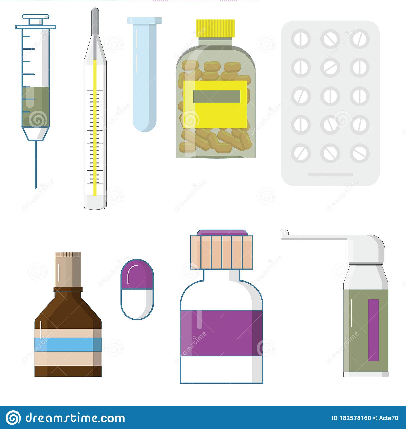 Set Of Medicine Bottles With Labels And Pills Drugs