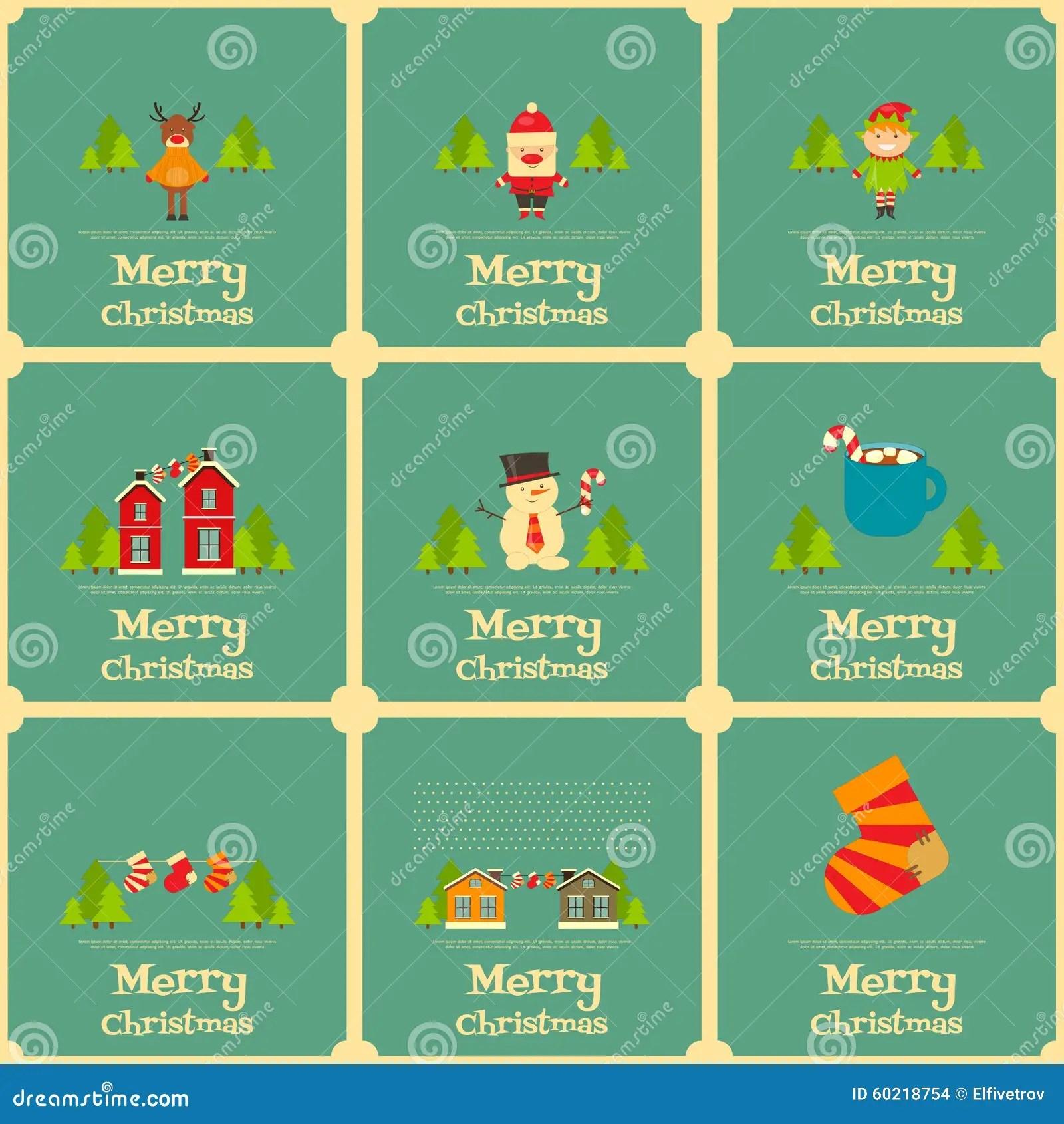 Set Of Mini Christmas Cards Stock Vector Image 60218754