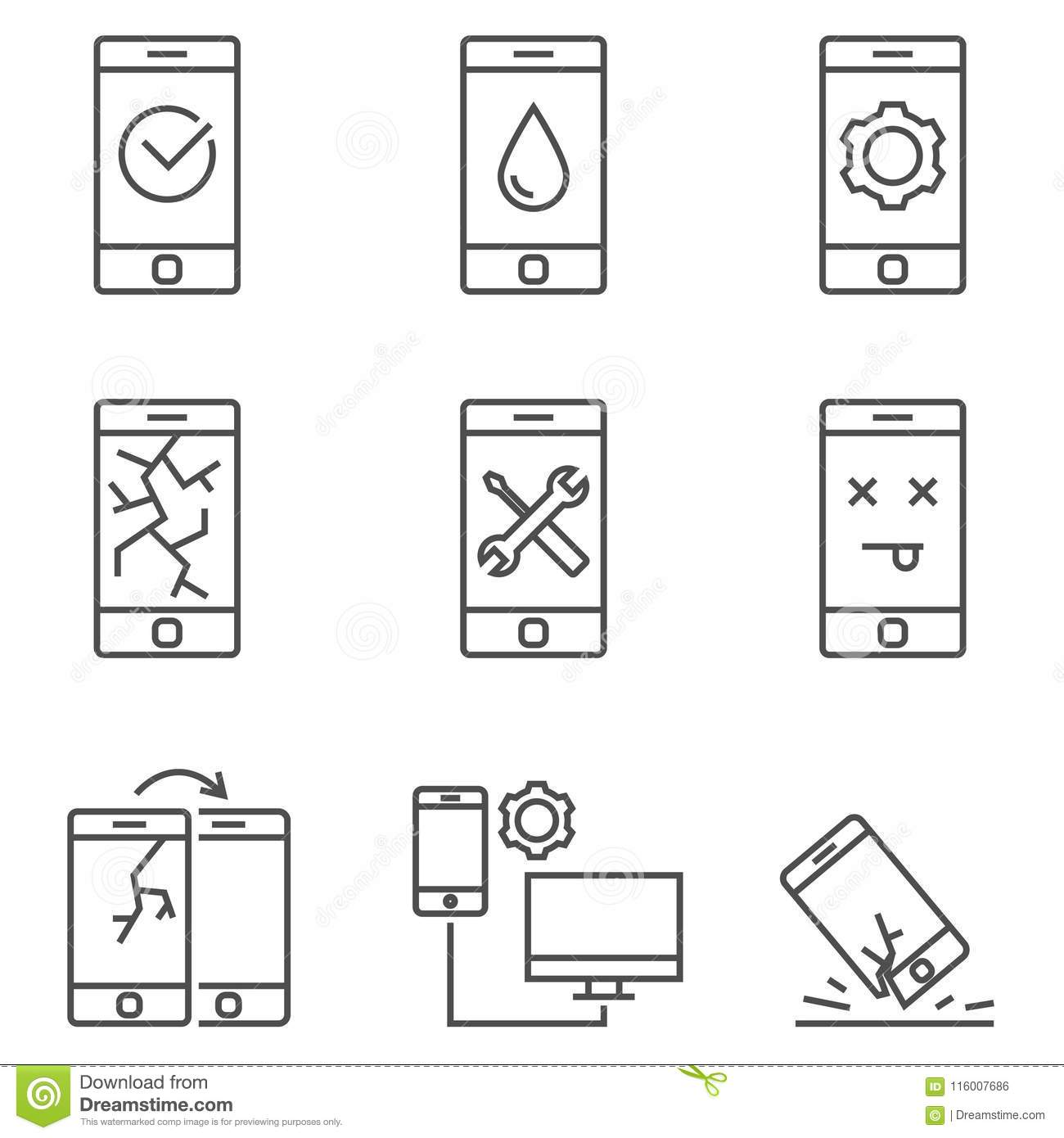 Set Vector Flat Line Icons Smart Device Stock Photo
