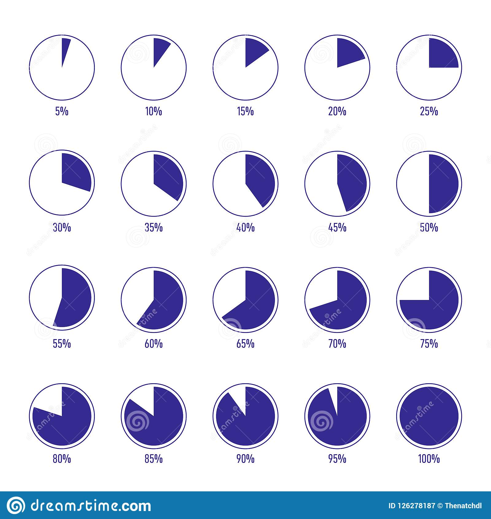 Set Of Modern Percentage Pie Chart With Number Stock