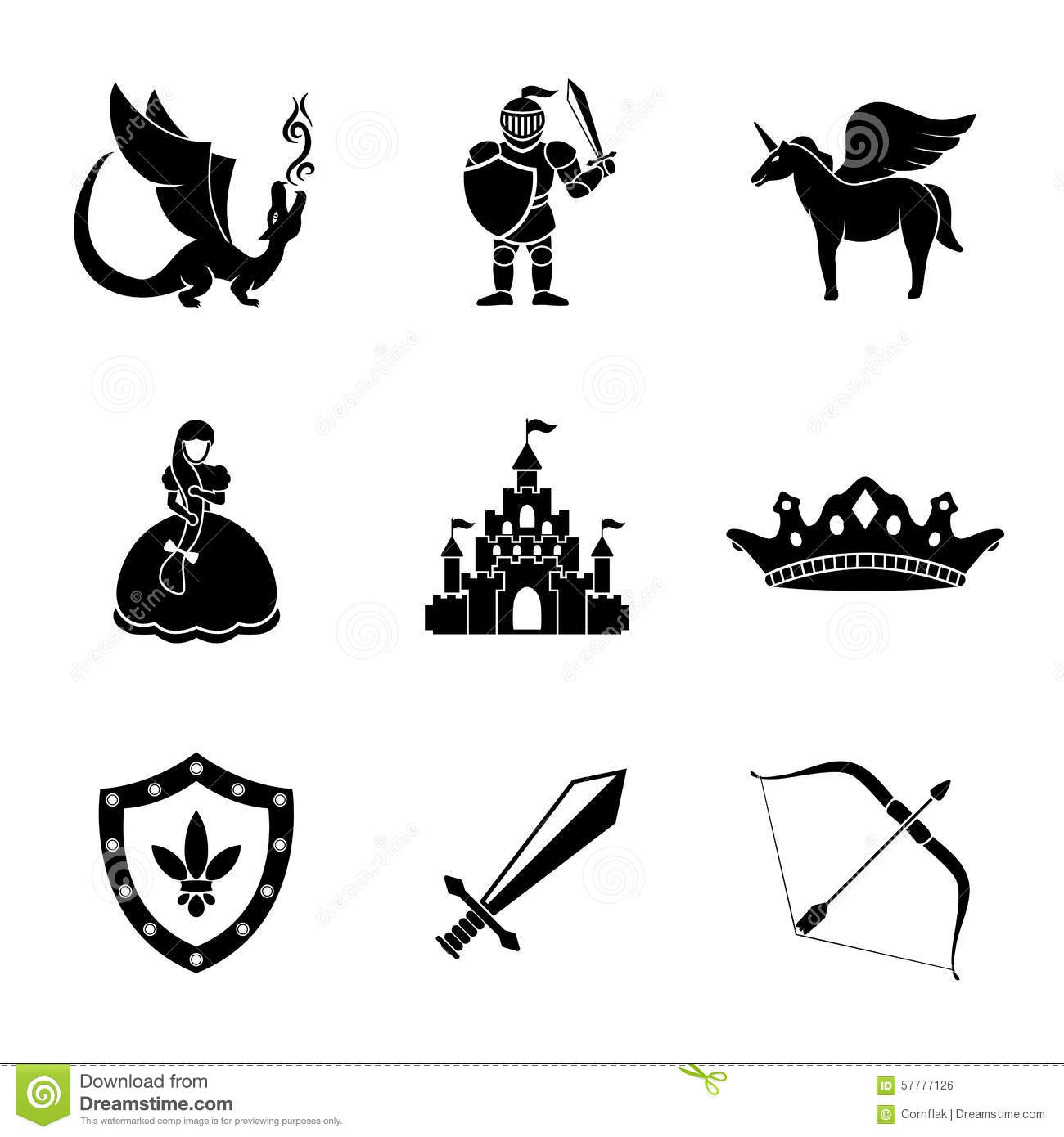 Set Of Monochrome Fairytale Game Icons With