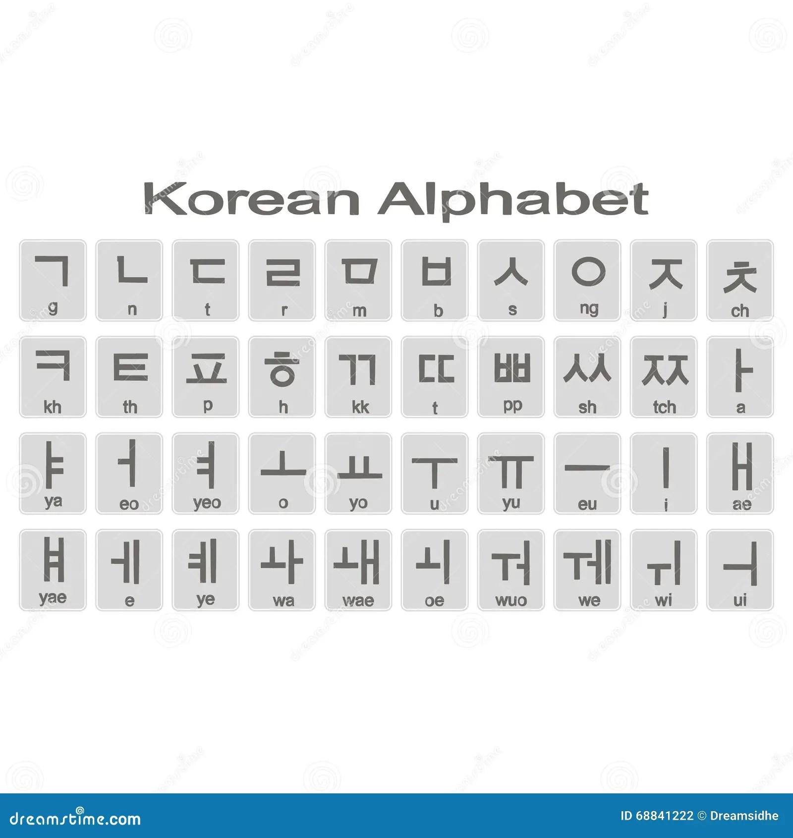 Set Of Monochrome Icons With Korean Alphabet Stock Vector