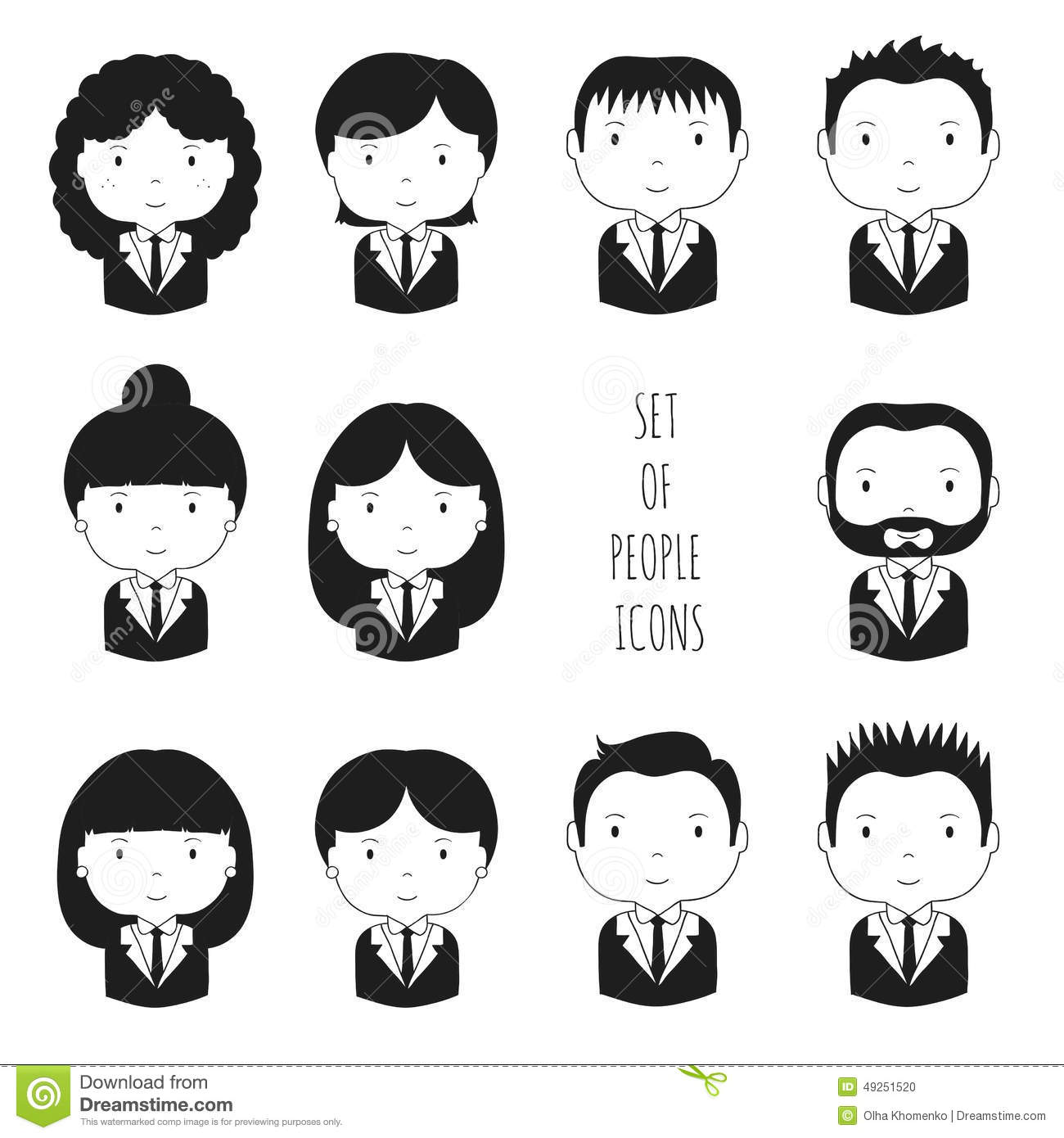Set Of Monochrome Silhouette Office People Icons Stock
