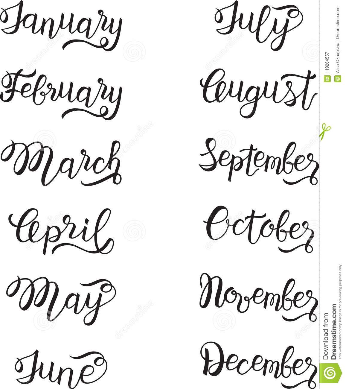 Set Of Months Typography Hand Lettering Stock Vector