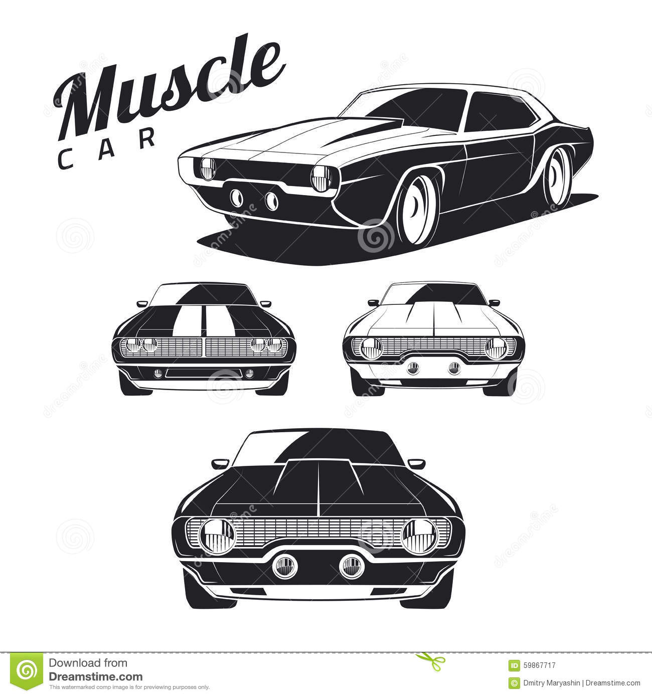 Set Of Muscle Car Icons And Emblems On White Background
