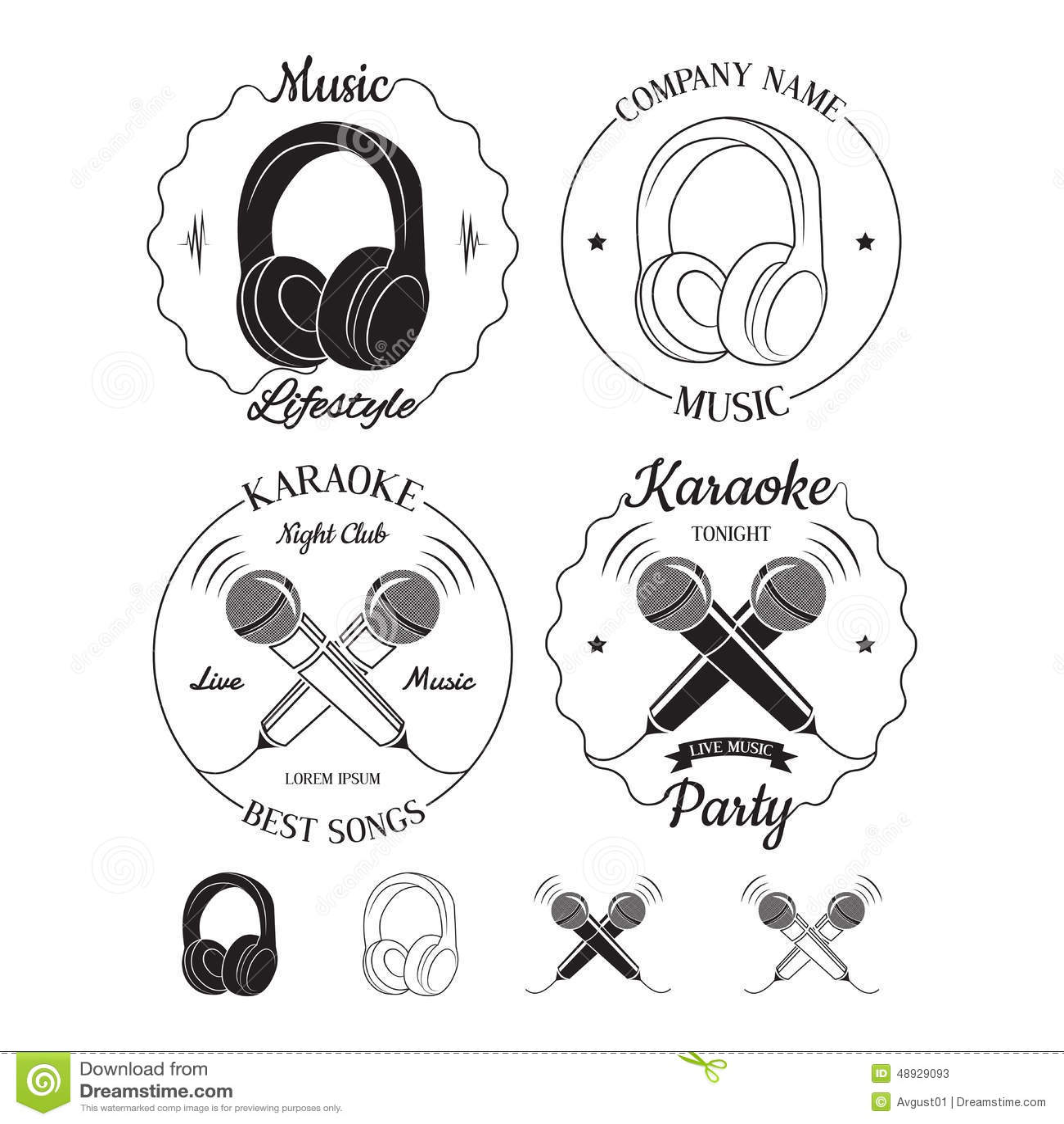 Set Of Music And Karaoke Logos Labels Badges And Design