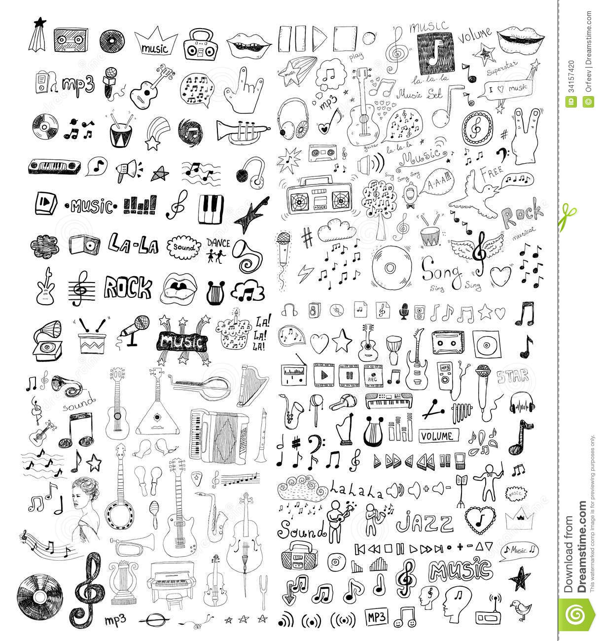 Set Of Music Symbols Stock Photo