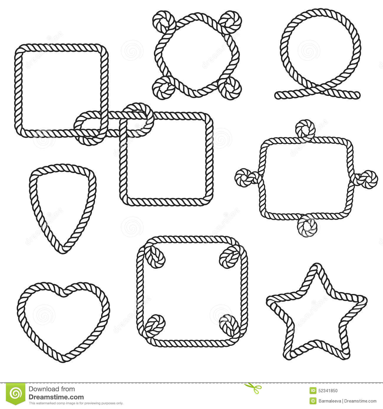 Set Of Nautical Rope Frames Stock Vector