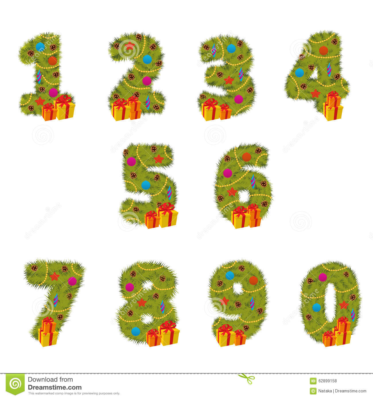 Set Of Numbers Christmas Tree From 1 To 9 Stock Vector
