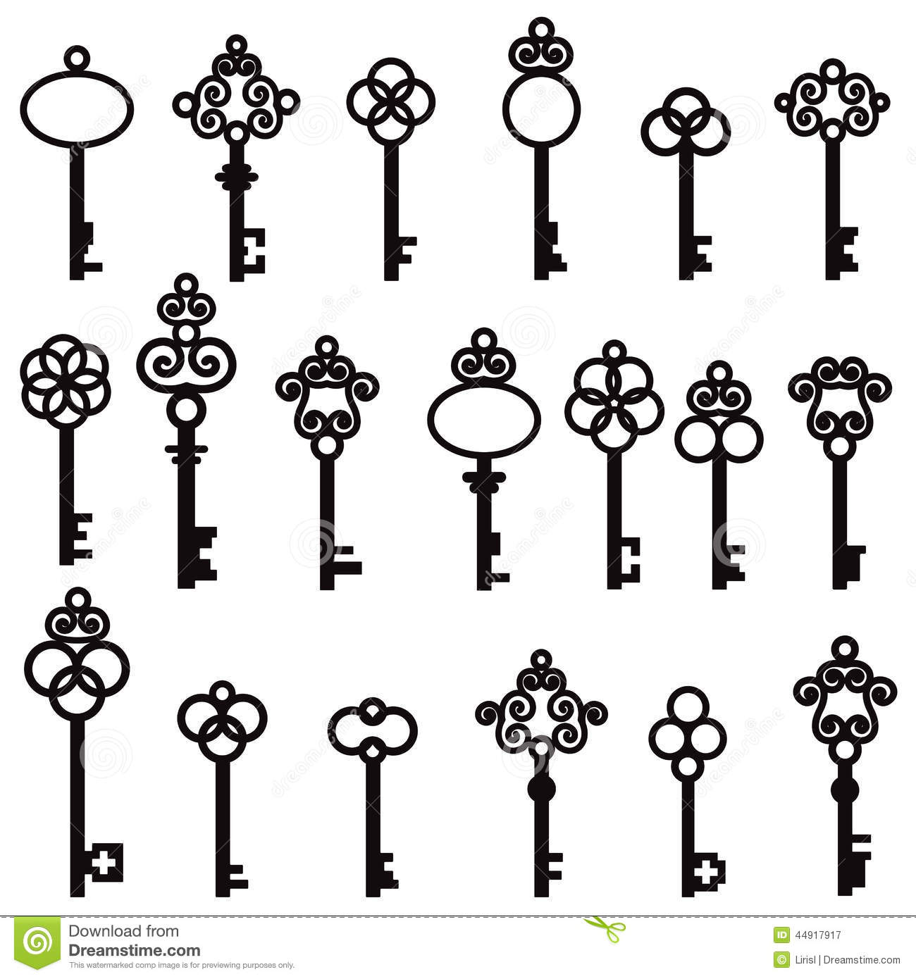 Set Of Old Keys With Decorative Elements In Retro Style