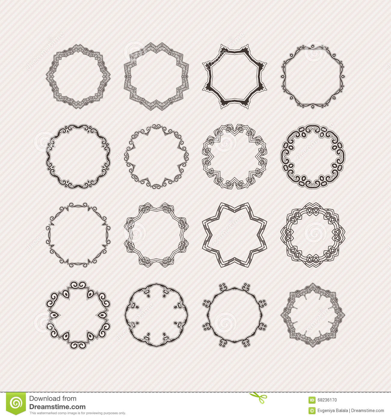 Circular Borders Ornaments On A White