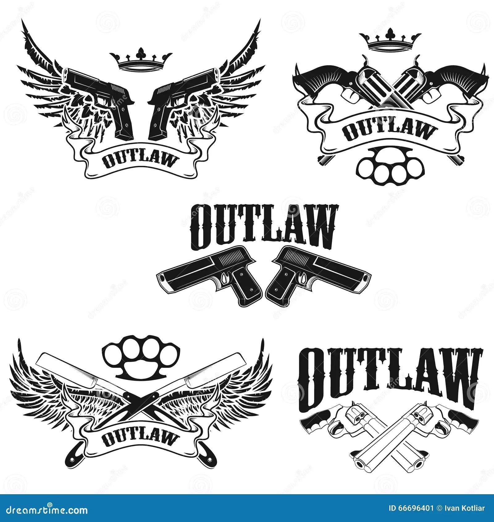 Set Of Outlaw T Shirt Print Design Templates Stock Vector