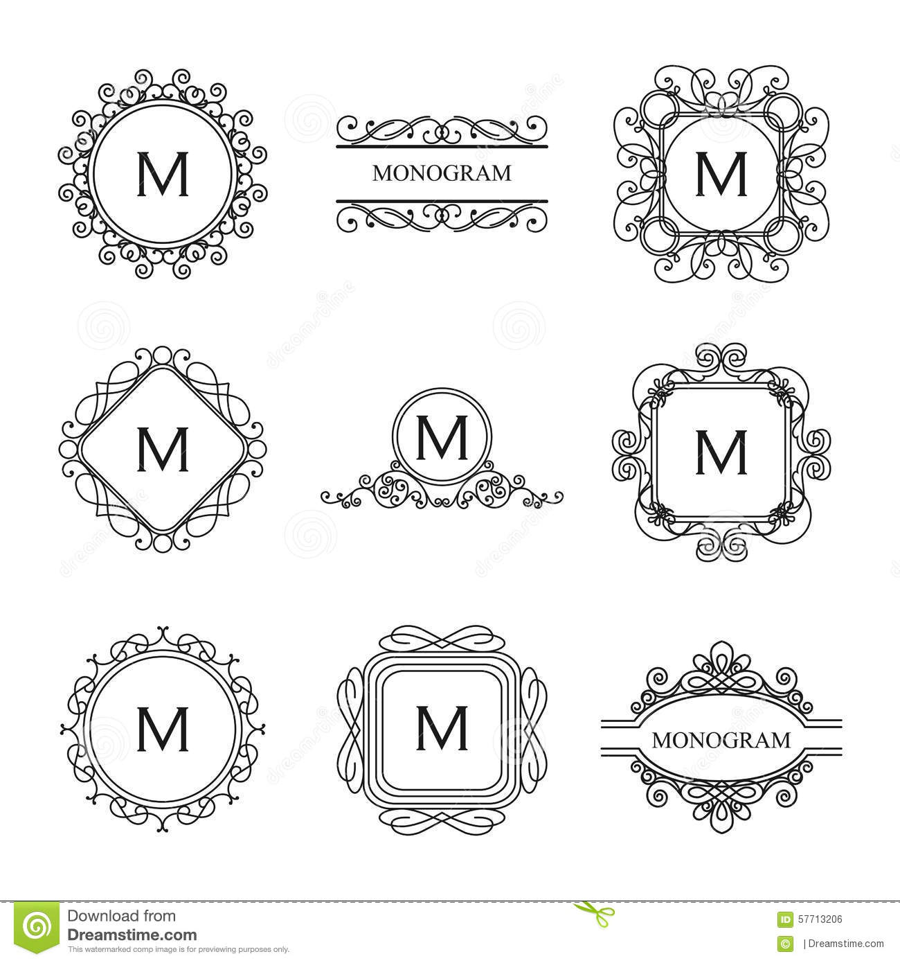 Set Of Outline Monograms And Logo Design Templates Stock