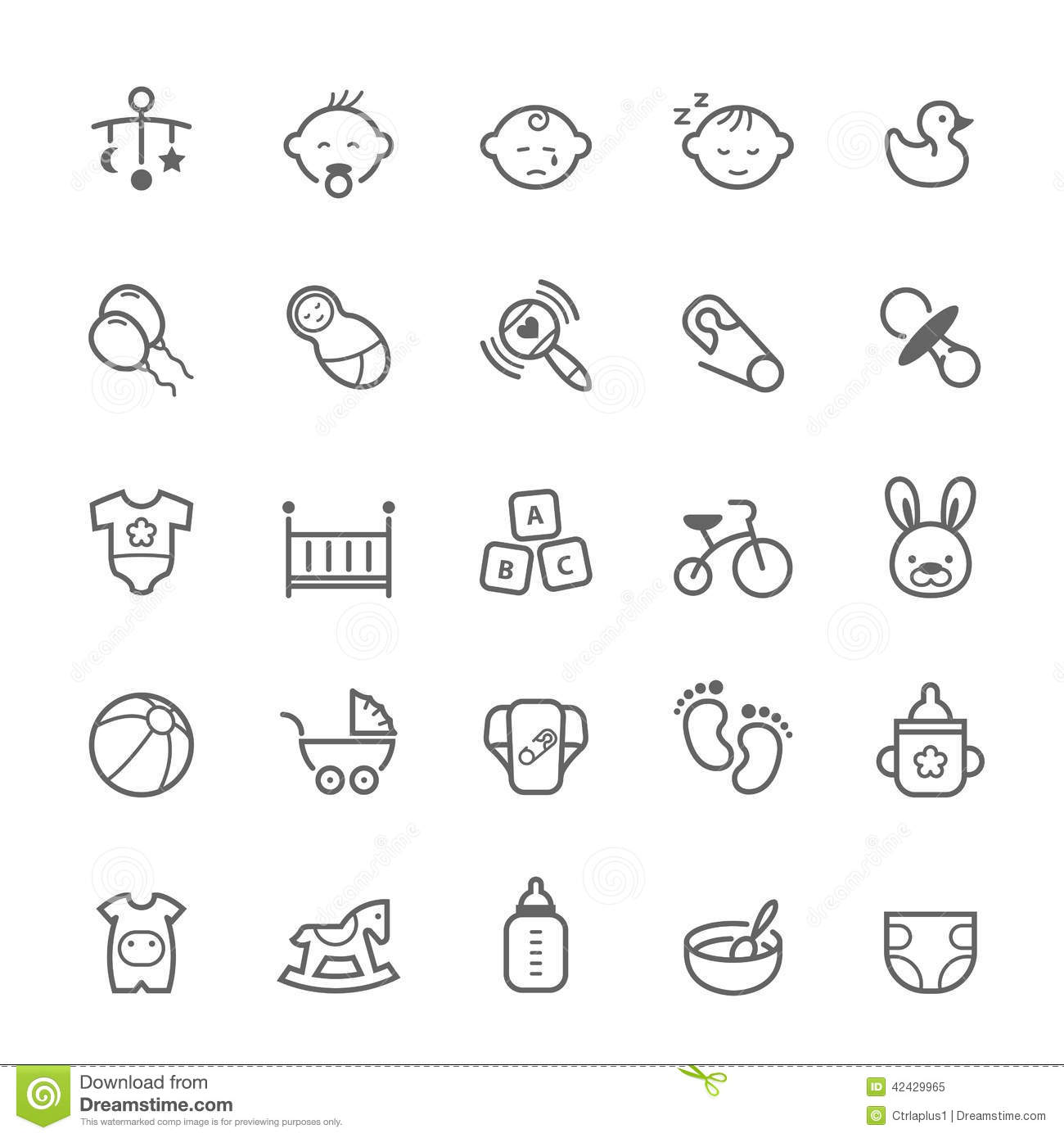 Set Of Outline Stroke Baby Icon Stock Vector
