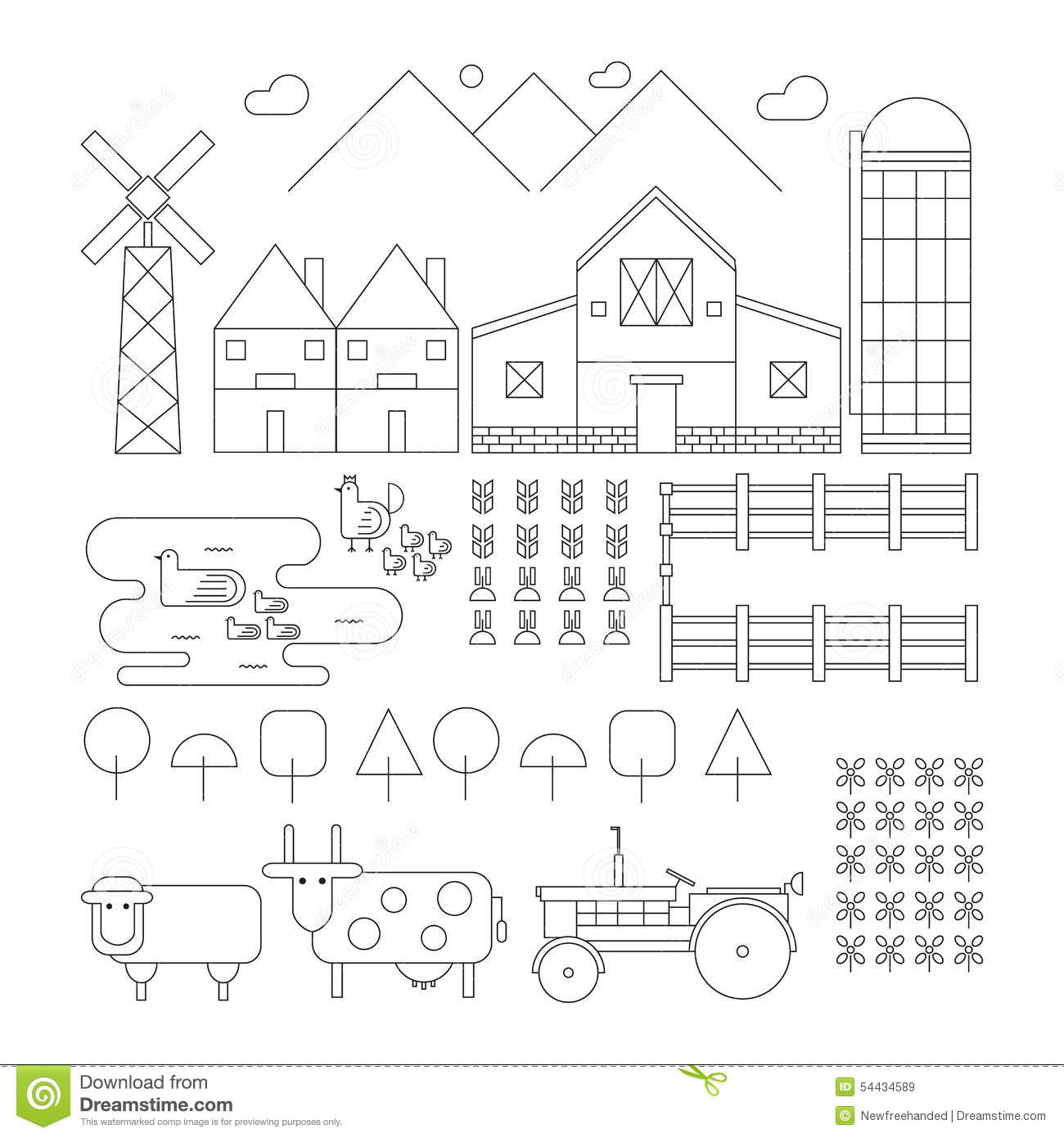 Set Of Outlined Farm Chicken Duck Sheep Cow Tractor