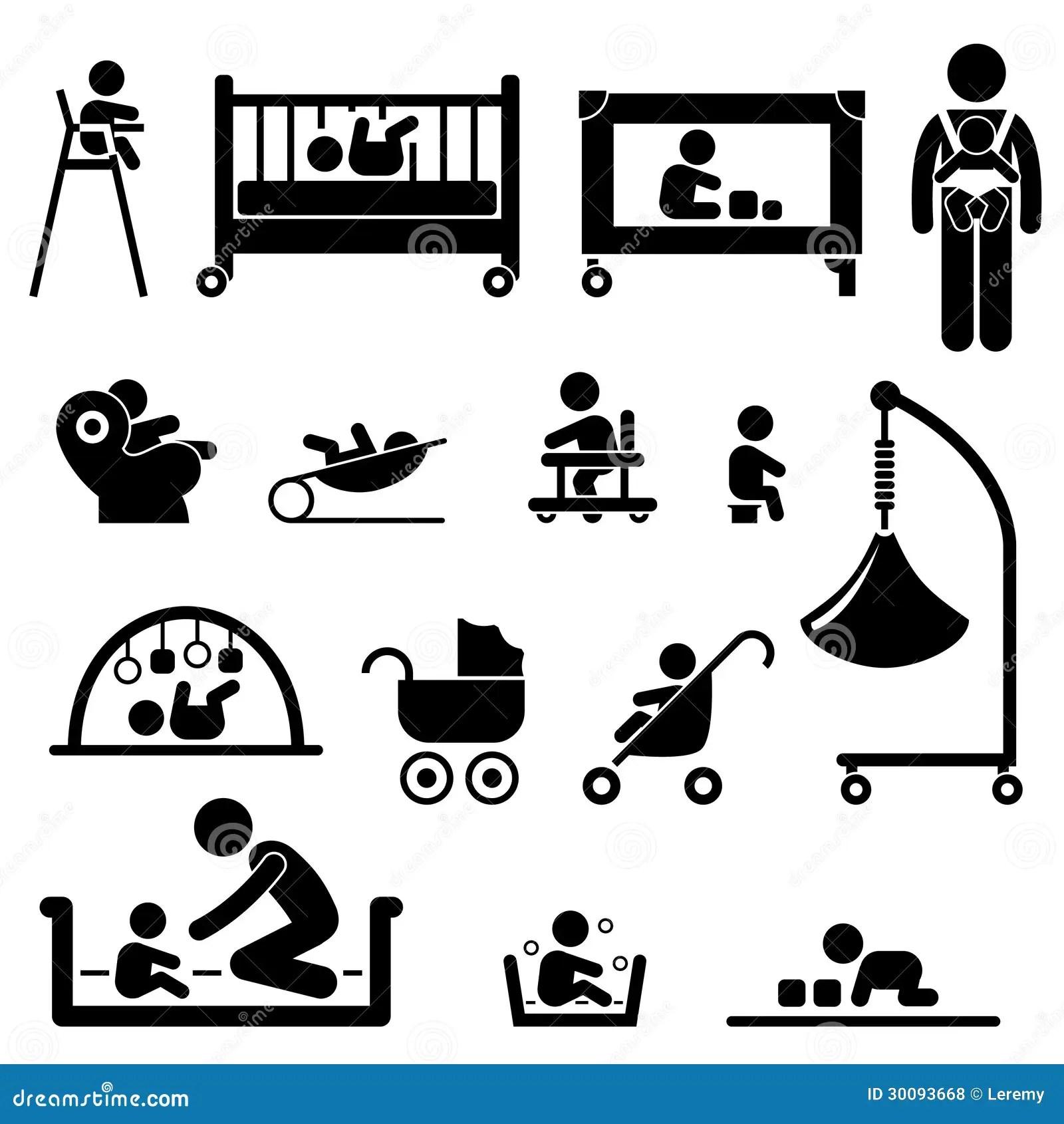 Baby Child Newborn Toddler Kid Equipment Pictogram Royalty
