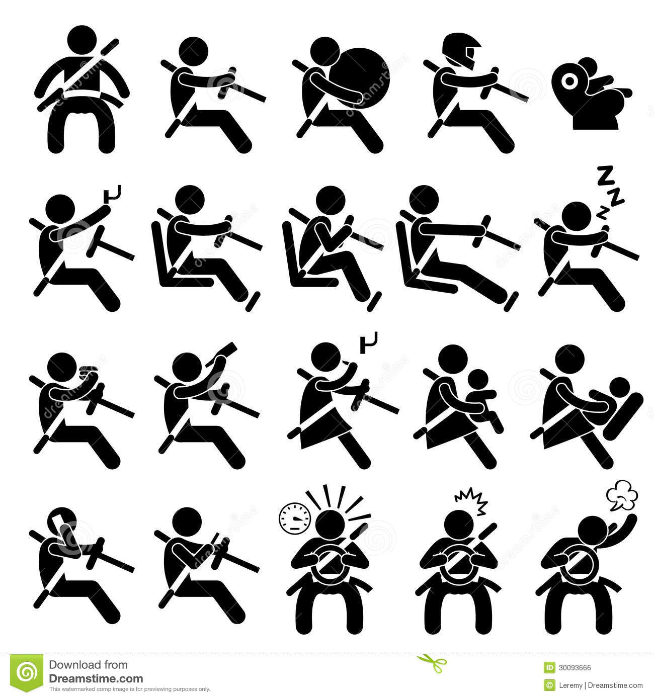 Driving Safety Guide Do And Dont Pictogram Stock Vector