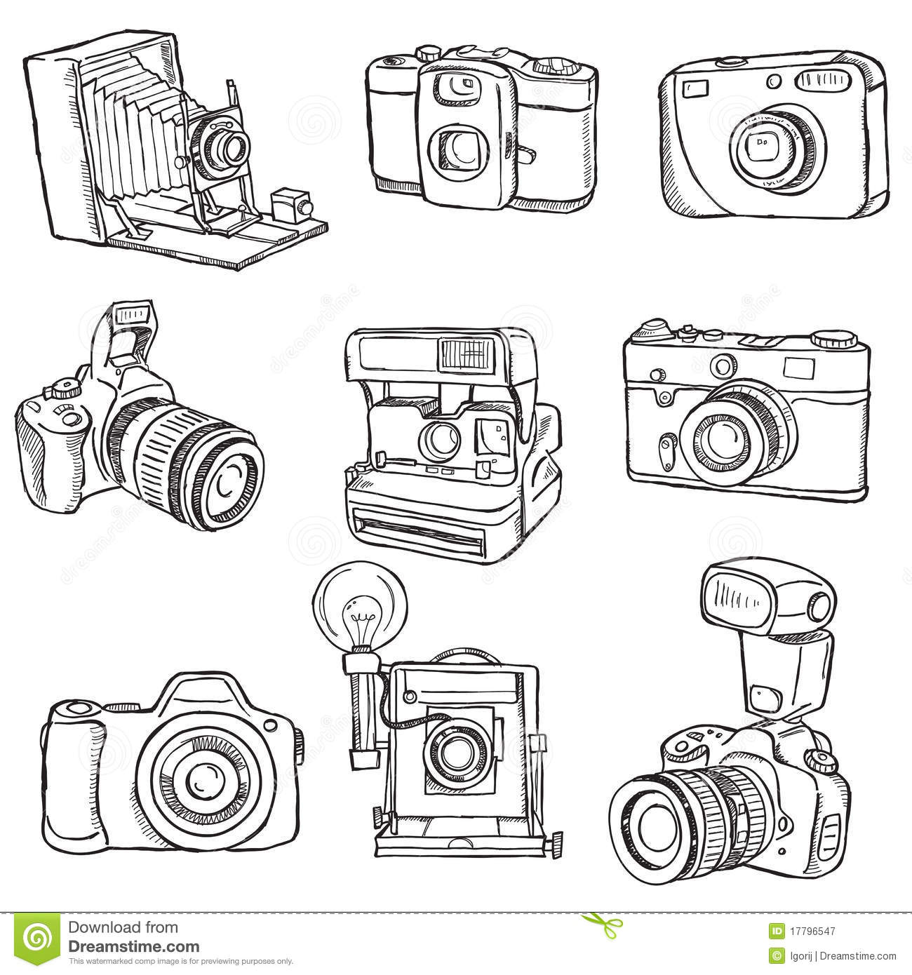 Set Of Photo Cameras Stock Vector Illustration Of
