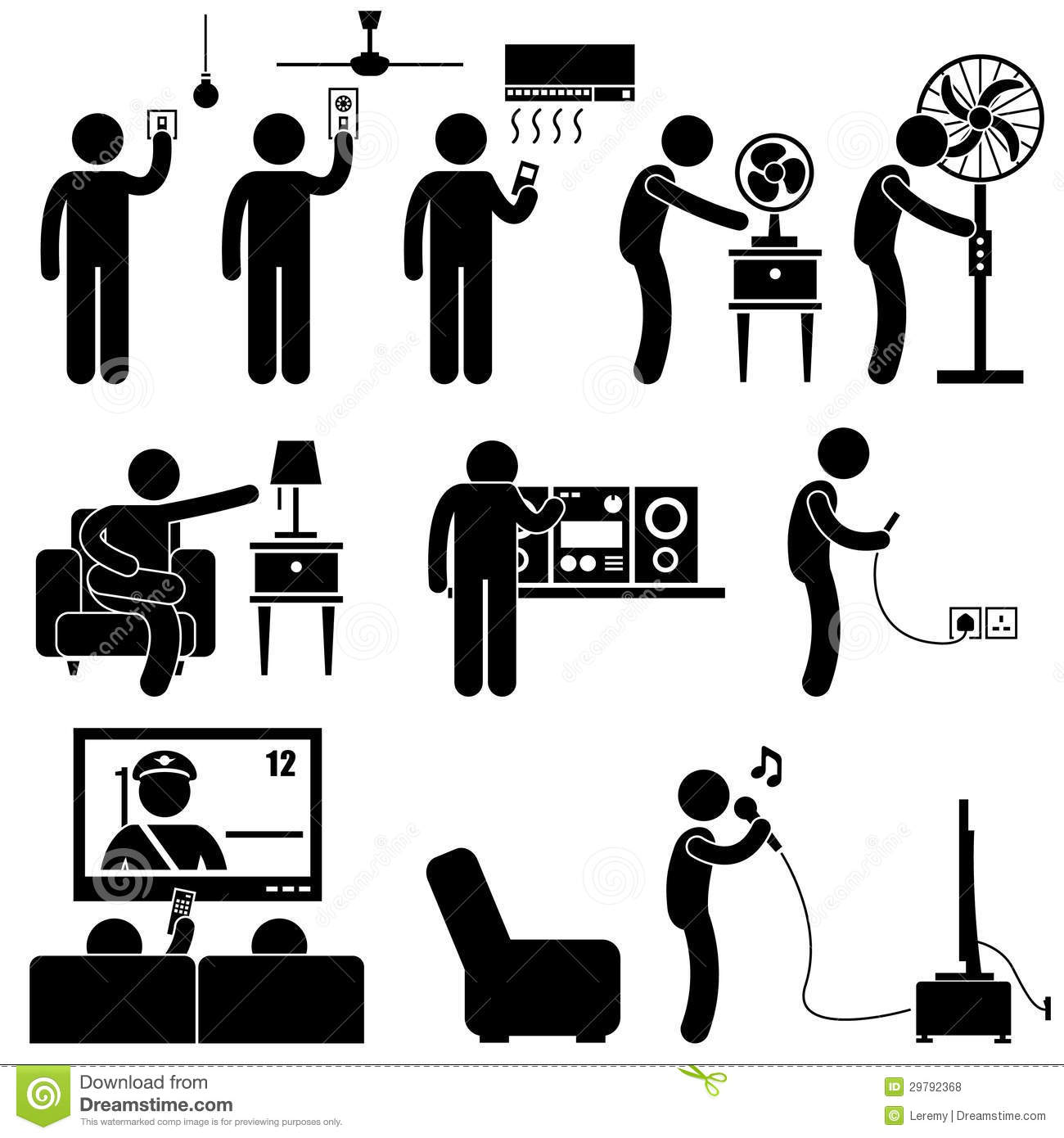 Man Using Home Appliances Equipment Pictogram Royalty Free