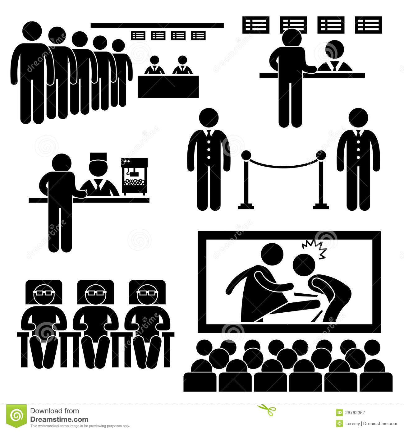 Cinema Theater Movie Film People Pictogram Royalty Free