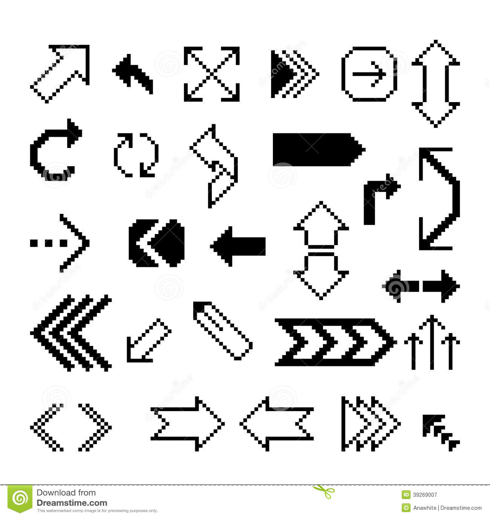 Set Of Pixel Arrow Symbol Stock Vector