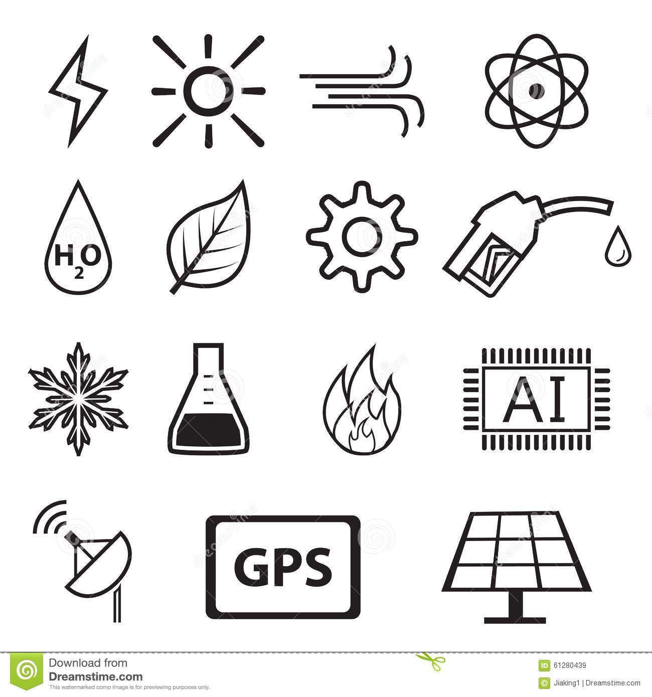 Set Of Power And Energy System In Linear Icons Stock
