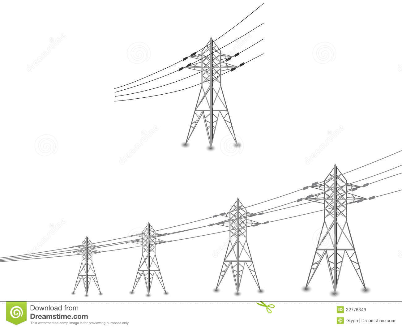 Set Of Power Lines And Electric Pylons Stock Vector