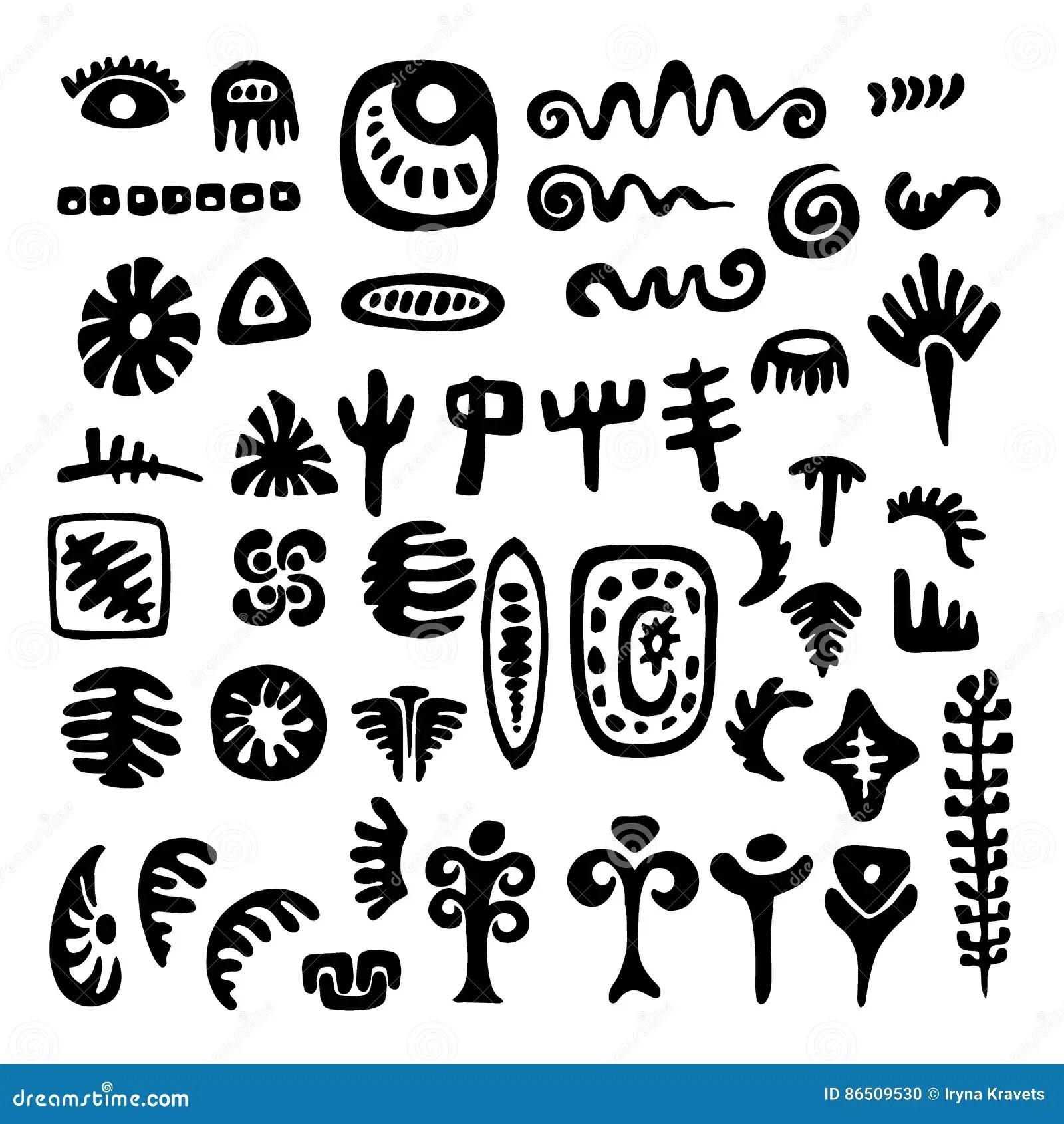 A Set Of Primitive Tribal Symbols Stock Vector