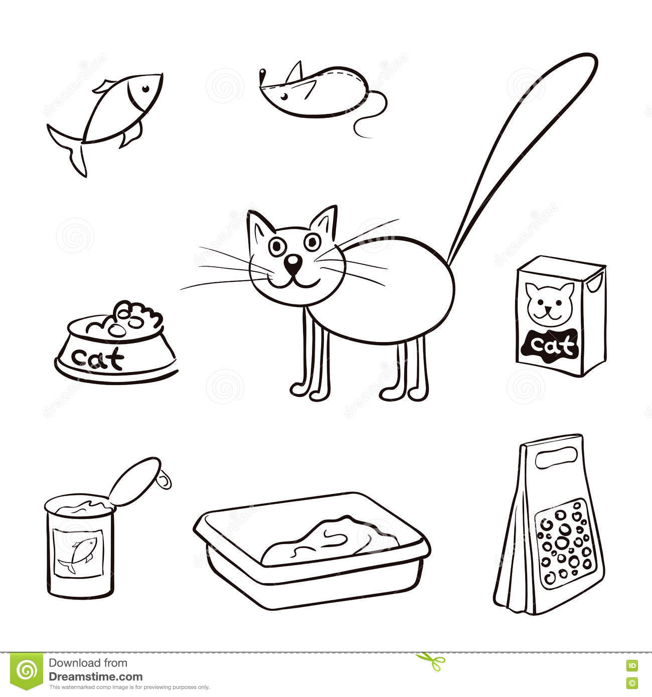Set Of Products For Cats Vector Illustration Stock