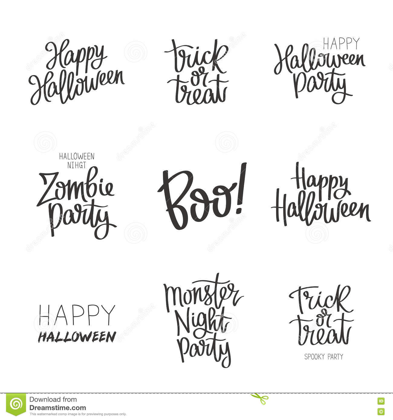 Set Quotes On Halloween Stock Vector Illustration Of